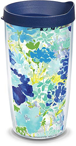 Tervis 1323304 Fiesta - Meadow Floral Insulated Travel Tumbler with Wrap and Navy Blue Lid, 16oz - Tritan, Clear (Tumbler Floral Tervis)