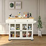LAZZO Kitchen Island on Wheels Rolling, Home Kitchen Cart with Pine Countertop, Large Storage Trolley Cart with Cabinet…