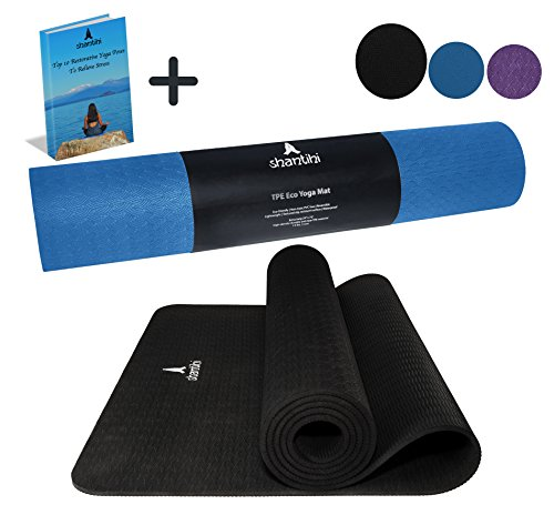 Cheap Shantihi Yoga Mat – Thick Eco Friendly Premium TPE Yoga Mat. Non Slip, Reversible, Durable Exercise Workout Pilates Mat. Free Bonus eBook. 72″x24″ 5mm. (Black)