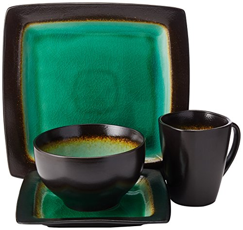 Gibson Elite Ocean Paradise 16-Piece Dinnerware Set, (Green Stoneware Mug)