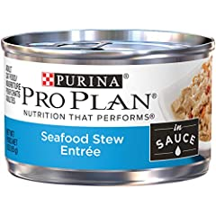 Bring out the greatness in your cat when you serve her Purina Pro Plan Seafood Stew Entree in Sauce adult wet cat food. This canned cat food features real seafood, and every high-quality ingredient is carefully chosen for a specific purpose. ...