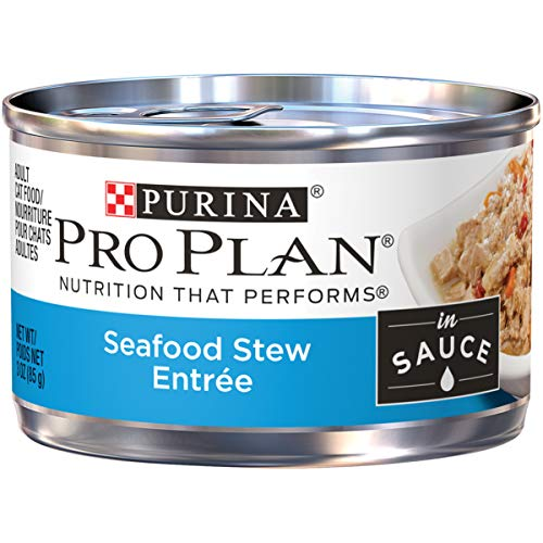 Purina Pro Plan Wet Cat Food; Seafood Stew Entree in Sauce - 3 oz. Pull-Top Can (Pack of 24)