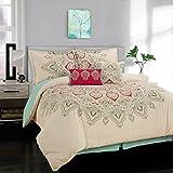 Simplicity Home Dupont Technology 5 Piece Comforter Set, Full/Queen, Amaya Aqua, 5