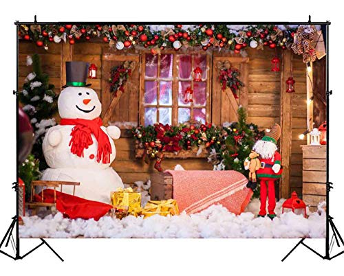 Funnytree 7X5ft Winter Christmas Snowman Photography Backdrop Xmas Snow Wood Cabin Cottage Decorations Background Baby Portrait Photobooth Banner Photo Studio Props ()