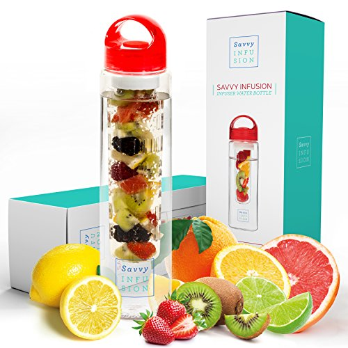 Savvy Infusion Water Bottles - 24 or 32 Ounce Fruit Infuser Bottle - Featuring Unique Leak Proof Silicone Sealed Cap with Handle - Great Gifts for Women (25 Under Gifts Great)