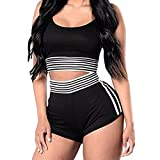 Women Two Piece Sports Spaghetti Strap Crop Tank Top and High Waist Shorts Set Tracksuit Black M