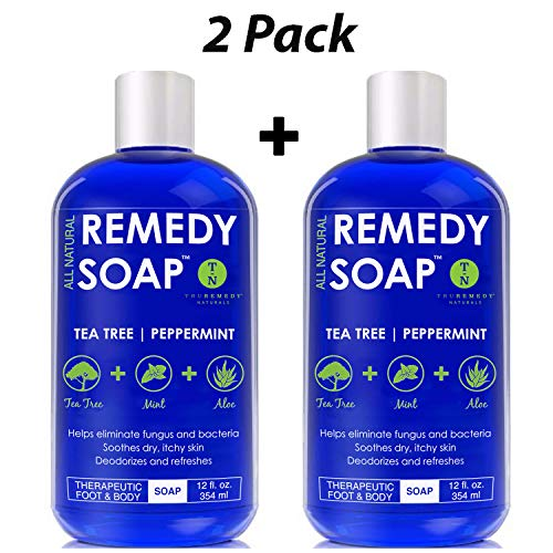 Remedy Soap Pack of 2, Helps Wash Away Body Odor, Sooth Athlete's Foot, Ringworm, Jock Itch, Yeast Infections and Skin Irritations. 100% Natural with Tea Tree Oil, Mint & Aloe 12 oz
