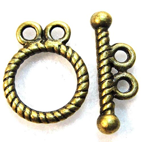 10Sets Tibetan Antique Bronze Round 2-Strand Toggle Clasps Hooks Findings C385 Crafting Key Chain Bracelet Necklace Jewelry Accessories Pendants - Nina Strand Necklace