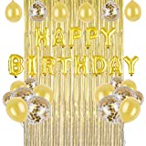 Happy Birthday Balloons.Aluminum Foil Balloon with Gold Latex Balloons and Gold Metal Striped Curtains for Birthday Party Decorations,Perfect party balloon supplies