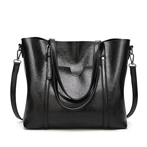 LIZHIGU Tote Crossbody Leather Hobo Bag Top Bags Shoulder Purses Women's Black Handbags Handle 4BvwxYn4qr