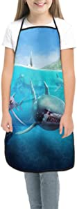 Boys Cooking Aprons Kids Hungry Shark World X iOS Android Shark Painting Kids Apron Teen Cooking Apron Waterproof with Pocket for Cooking Baking Painting and Party