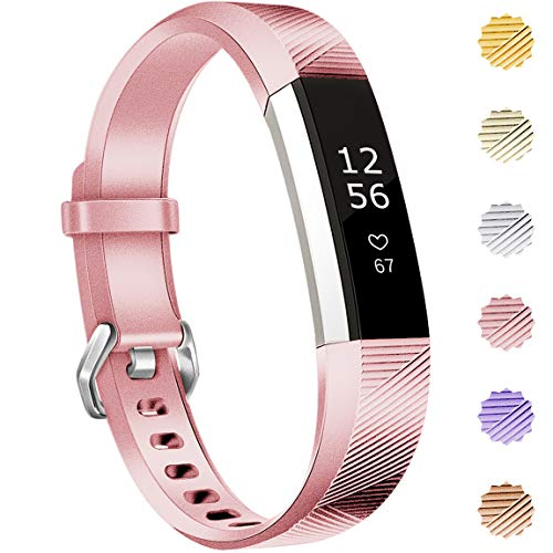 Maledan Replacement Bands Compatible for Fitbit Alta, Alta HR and Fitbit Ace, Newest Accessories Wristbands Sport Strap with Secure Metal Buckle for Fitbit Alta HR/Alta/Ace, Small, Rose Gold from Maledan