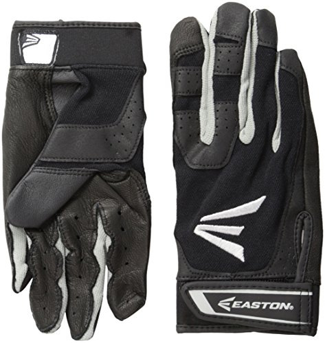 (Easton Youth HS3 Batting Gloves, Black, Large)