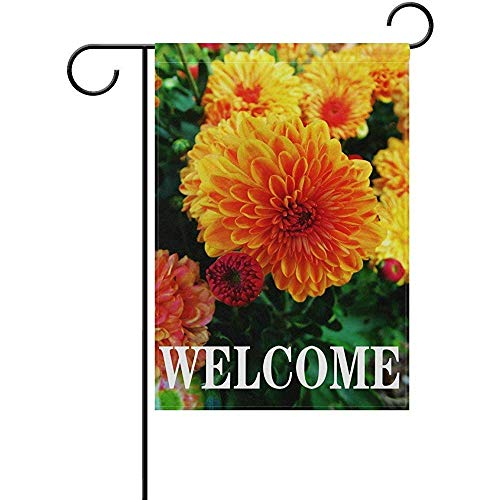 Fabri.YWL Welcome Floral Flower Zinnia Garden Flag 12 X 18 Large Inches, Spring Summer Double Sided Outdoor Yard Yall Garden Flag Wedding Party House Home Decor