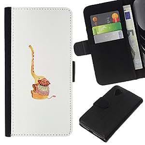 WINCASE Cuadro Funda Voltear Cuero Ranura Tarjetas TPU Carcasas Protectora Cover Case Para LG Nexus 5 D820 D821 - feliz blanco animal lindo