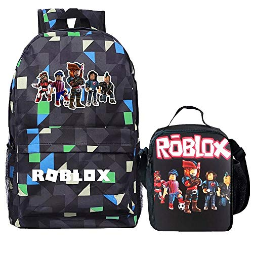 Boy Girl Kid Roblox Backpack Insulated Lunch Box School Travel Grid One size ()