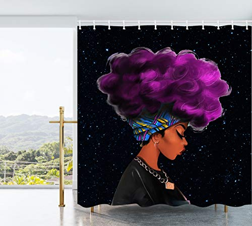 Ao blare Purple Hair Afro Traditional African Black Women Hairstyle Black Starry Background Watercolor Women Waterproof Polyester Fabric Bathroom Decor Set with Hooks 72X72Inch