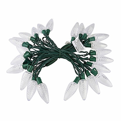 (UZEXON [Long Lasting Outdoor Cool White Christmas Lights with C9 Big Strawberry Bulbs,17Ft 25 Led Commercial Decorative String Lights,Garden Patio Lights,Party Wedding Holiday Mood)