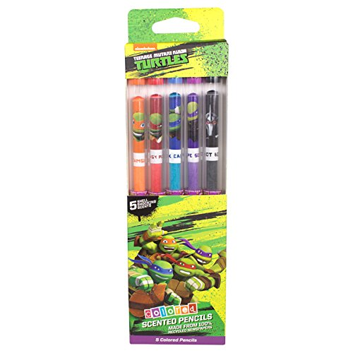 Set of 5 TMNT Gourmet Scented Colored Pencils in Collectible Freshness Tubes ()