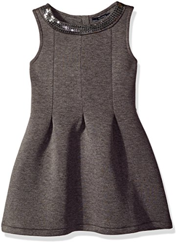 Nautica Little Girls' Toddler Scuba Box Pleat Dress with Sequin Neckline, Medium Grey Heather, 2T (Toddler Fancy Dress)