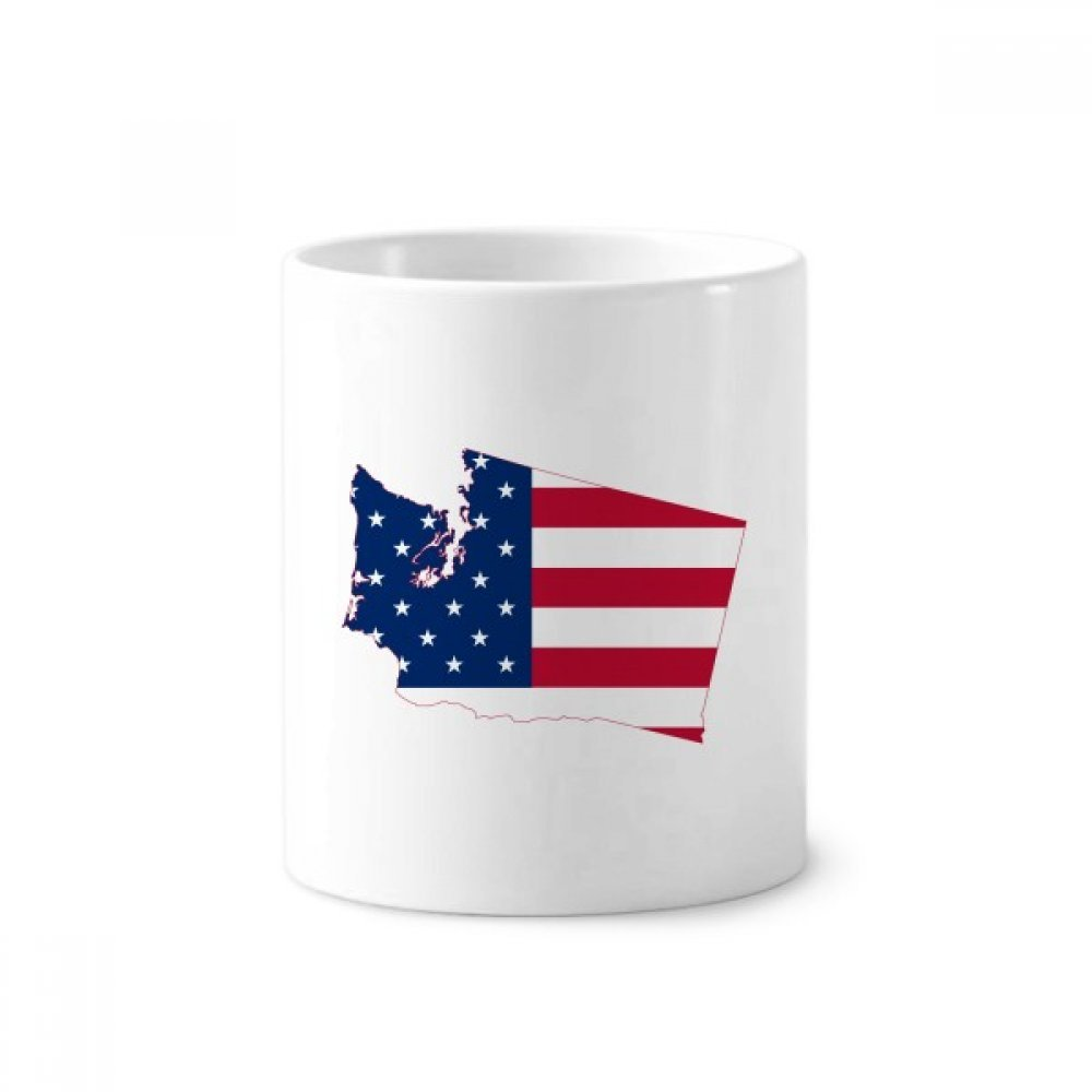 Washington America Map Stars Stripes Flag Toothbrush Pen Holder Mug White Ceramic Cup 12oz