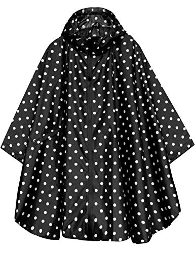 (Stylish Unisex Hooded Waterproof Rain Poncho with Zipper Outdoor Windbreak Colorful Ripple Rain Jacket)