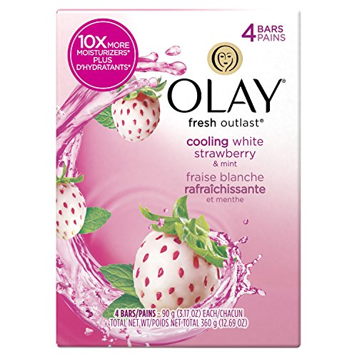 Fresh Deodorant Deodorant Bar Soap - Olay Fresh Outlast Cooling White Strawberry and Mint Beauty Bar, 4 Count, Packaging May Vary