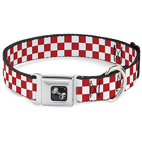 Buckle-Down Seatbelt Buckle Dog Collar - Checker Red/White - 1