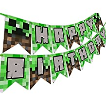 Minecraft Party Decorations Happy Birthday Banner