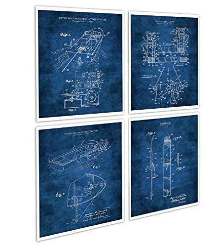 Water Ski Decor Set of 4 Unframed Blueprint Art Prints of Water Skiing Equipment Invention Drawings Patents_WaterSki_Blue4A