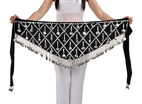 AvaCostume Belly Dance Skirt Silver