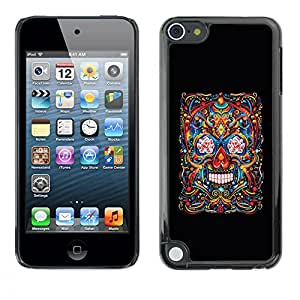 Shell-Star Arte & diseño plástico duro Fundas Cover Cubre Hard Case Cover para Apple iPod Touch 5 ( Skull Life Death Black Floral Art Spring )