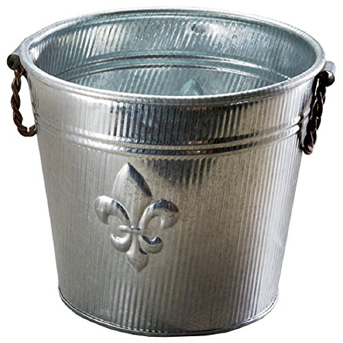 Galvanized Tin Metal Ice Bucket for Party Drinks or Planter Pail with Twisted Metal Handles, Fleur De Lis Ribbed ()