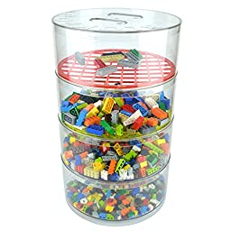 "BLOKPOD Toy & Lego Storage Bin Organizer • Multipurpose Stackable Storage Solution • Large Capacity: 17""x10""x10"" • Transparent Box • 15 YEAR WARRANTY • 4 Tier"