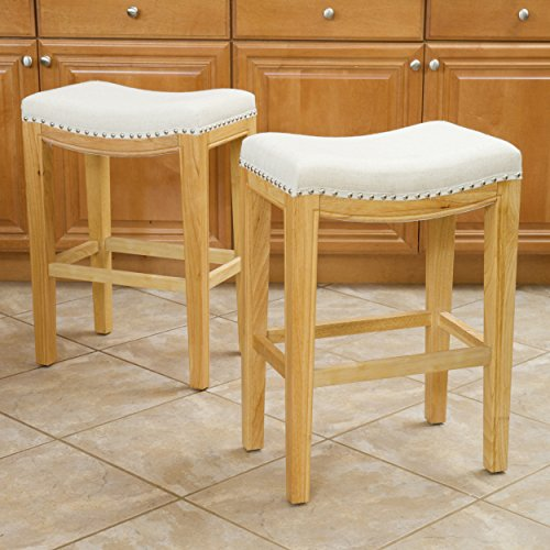 Christopher Knight Home 237492 Jaeden Beige Backless Counter Stool (Set of 2), - Stool Natural Bar White