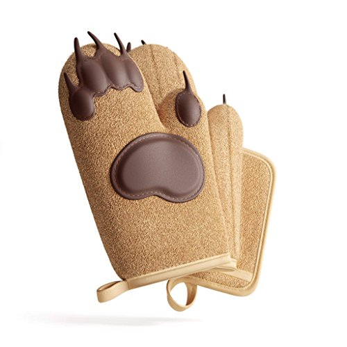 Heat Resistant Oven Mitts & Pot Holder Kitchen Set by Toem - Includes 2 Bear Paw Silicone Padded Oven Gloves, 1 Terry Cloth Pot Holder & Free Self Adhesive Hook ()