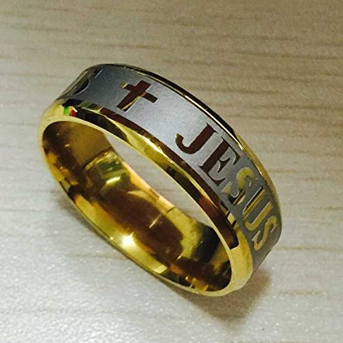 Deniy Large Size 8mm 316 Titanium Steel 18K Silver Gold Plated Jesus Cross Letter Bible Wedding Band Ring Men Women