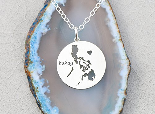 Philippines Necklace - IBD - Personalize Name Coordinates - Pendant Size Options - 935 Sterling Silver Charm (Necklace Philippines)