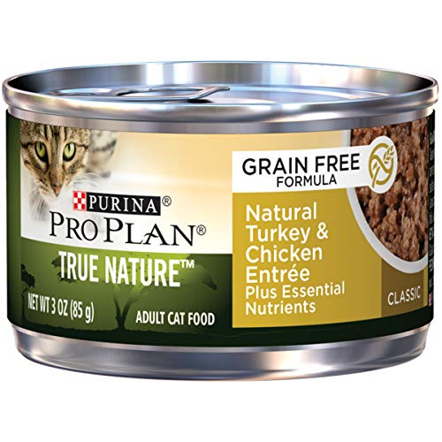 Purina Pro Plan Natural, Grain Free Pate Wet Cat Food; TRUE NATURE Natural Turkey & Chicken Entree - 3 oz. Pull-Top Can , Pack of 24 ()