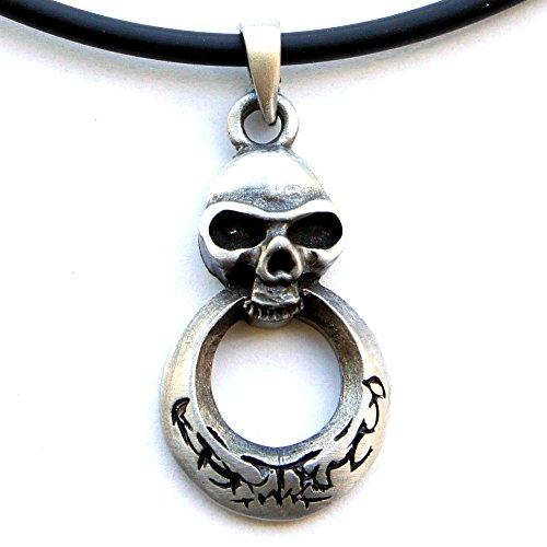 Gothic Punk Rock Biker Skull Doorknocker Charm Pewter Pendant W PVC Necklace