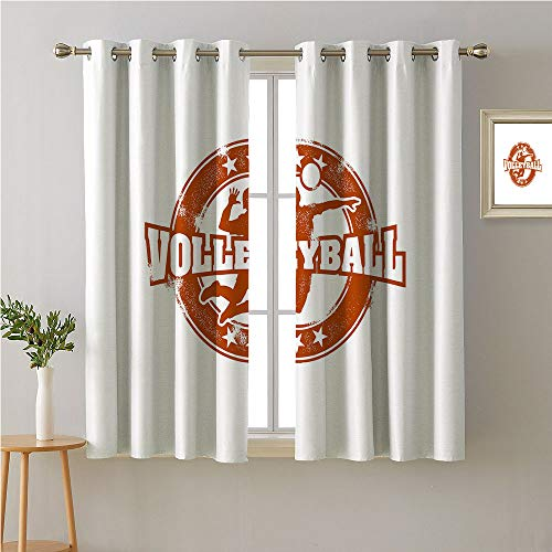 Jinguizi Volleyball Grommet Curtain for Living Room,Vintage Sport Design with Worn Circle with Stars Figure Silhouette of Man Ball,Modes Darkening Curtains,72W x 72L