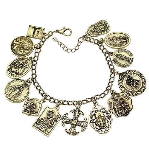 Q&Q Fashion Vintage Gold Tone Catholic Religious Church Medals Charm Saints Pray for US Cross Chain Bracelet Bangle