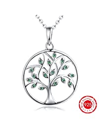 Tree Necklace-Women Giving Tree of Life Pendant Necklace- YL 925 Sterling Silver Green Tree Branch Necklace-Christmas Family Tree of Life Necklace for Men