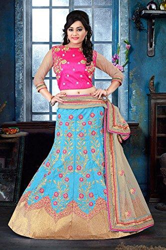 IWS Silk Fabric Sky Blue Pretty Circular Lehenga Style With Lace Work Dupatta 79534