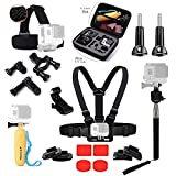 ASOCEA Essential Accessories Bundle Kit with Case for GoPro Hero5 Black Hero 4 Session Pictek APEMAN 4k ODRVM Gitup git2 Sports Camera Accessories Set in Outdoors