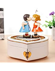 Pxio Creative Baby Kids Music Box Lovers Kissing on The Music Box Heart Shaped Jewelry Box for Valentine's Day Present-White