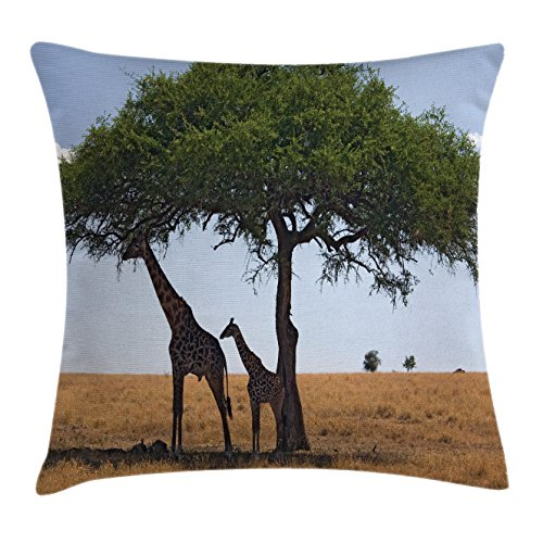 Lunarable Safari Throw Pillow Cushion Cover, Baby and Mom Giraffe under the Tree the Tallest Animal Mammal in Savannah Nature Art, Decorative Square Accent Pillow Case, 28 X 28 Inches, Multicolor