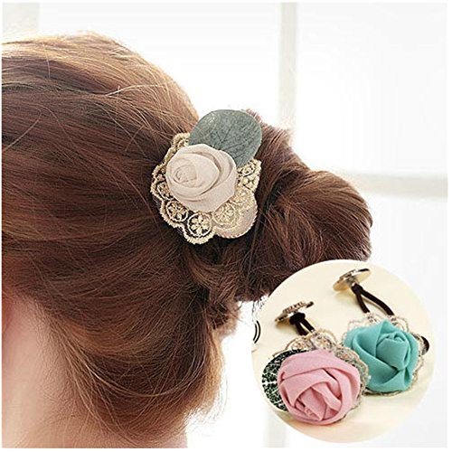 Casualfashion 6Pcs Korean Style Women Fashion Hair Band, Lace Rose Flower Hair Ring, Ladies Hair Accessories