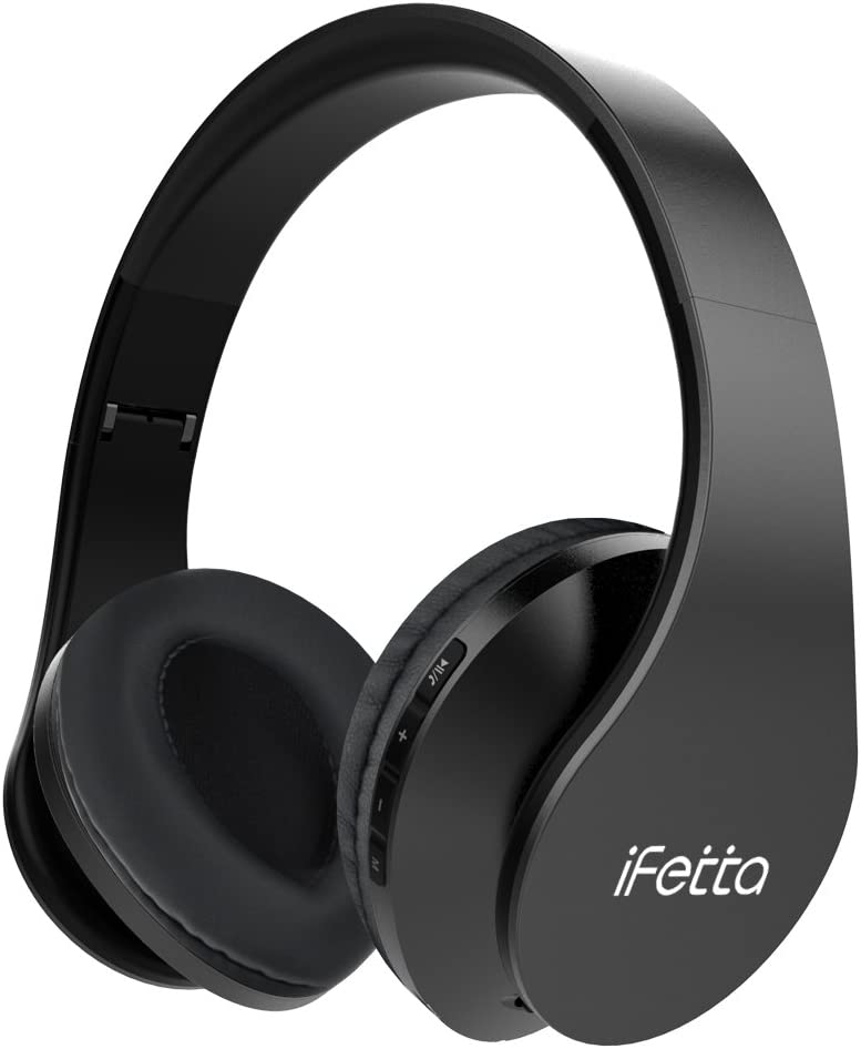 Ifecco Bluetooth Estéreo Auriculares Música sobre-oído Sonido de Alta fidelidad, Bluetooth Banda para la Cabeza Plegable con micrófono y Cable de Audio para Apple iPhone, PC (actualizar Negro)