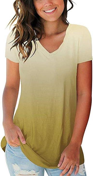 VJGOAL Moda de Verano para Mujer Talla Grande Cuello en V Camiseta de Manga Corta Ocasional Floja Tops Blusa: Amazon.es: Ropa y accesorios